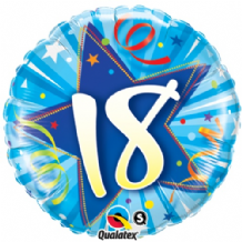 "18 Bright Blue Birthday Foil Balloon (18"") 1pc"